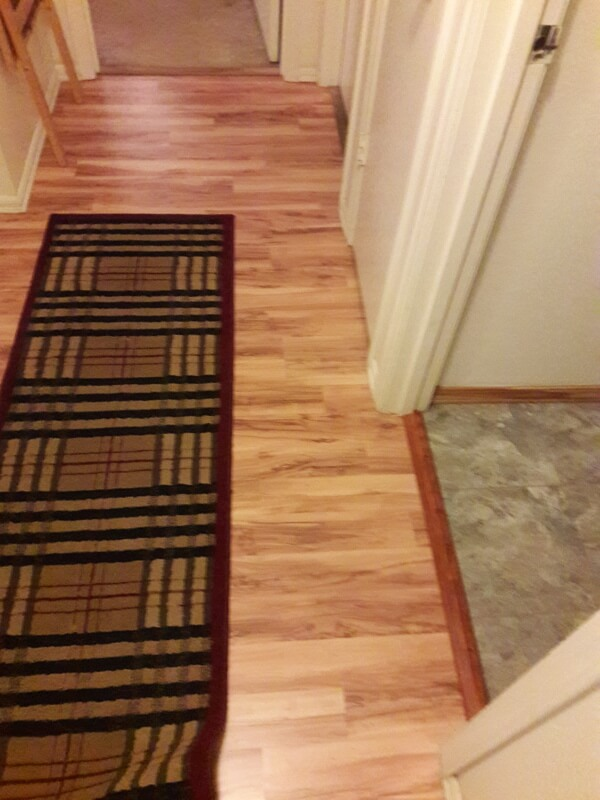 Laminate floor and vinyl tile in bath area with georgous transition
