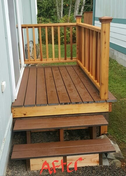 Composite decking and cedar railing after
